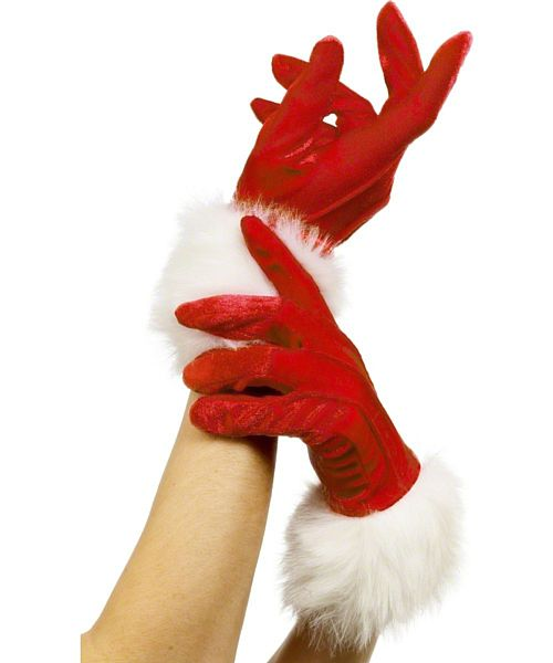 Velvet Santa Gloves - Pair
