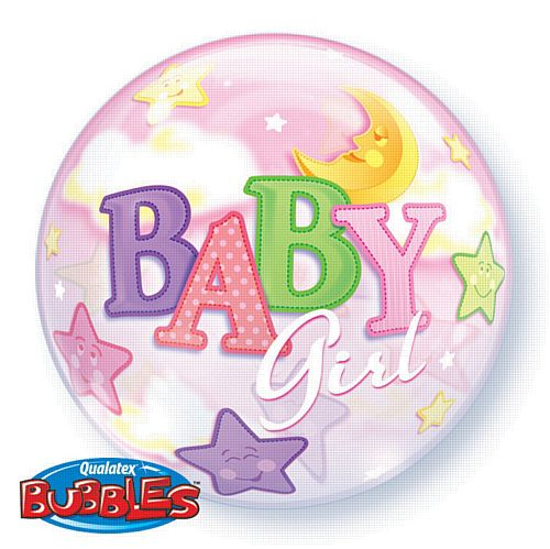 Baby Girl Moon & Stars Qualatex Bubble Balloon - 55.9cm