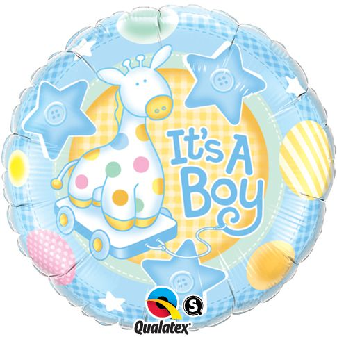 It's a Boy Soft Giraffe Qualatex Foil Balloon - 45.7cm