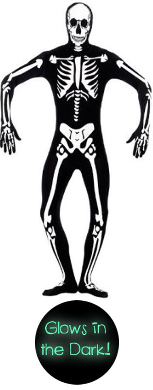 Skinz Suit- Skeleton Glow in the Dark! Small