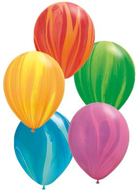 Rainbow Marble Balloons Pack Of 10 Assorted