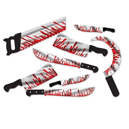 Printed Foil Bloody Weapon Cutout Wall Decorations 46cm Pack Of 8