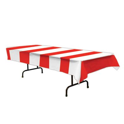 Red & White Stripes Tablecloth - 2.74m
