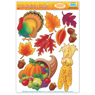 Thanksgiving Clings - 30.5cm - 11 Per Sheet