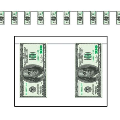 American $100 Bill 'All Weather' Bunting - 3.7m - 12 Flags