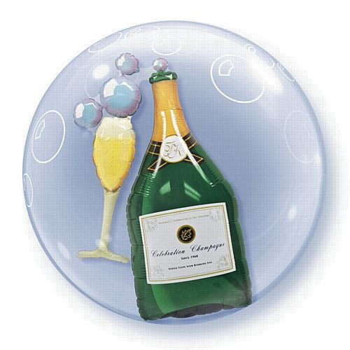 Bubbly Wine Bottle & Glass Qualatex Bubble Balloon - 61cm