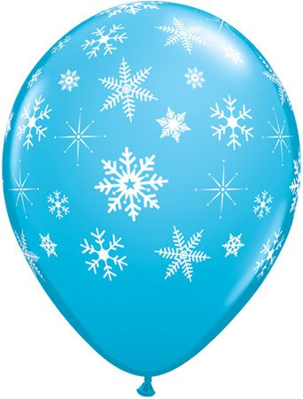 "Snowflakes & Sparkles Blue Qualatex Balloons - 11"" - Pack of 10"