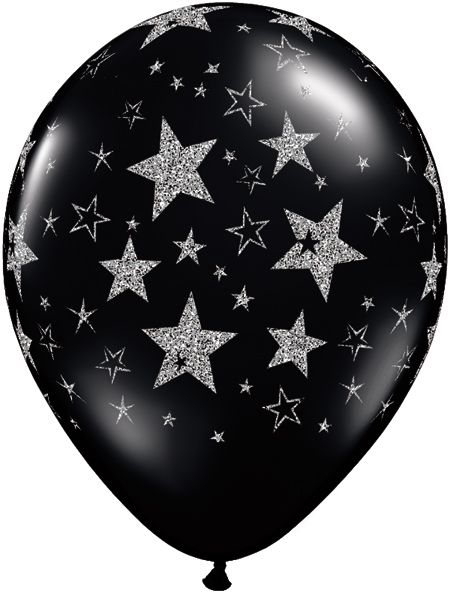 Glitter Stars Stars A Round Qualatex Balloons 11 Pack Of 10