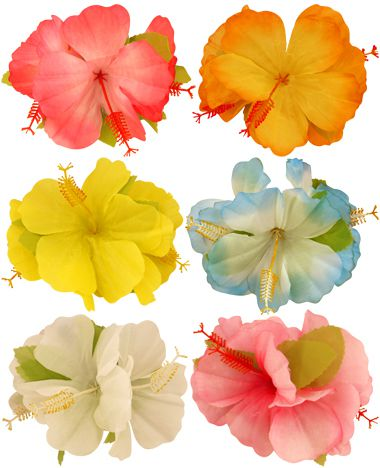Hibiscus Hair Clips - Assorted Colours