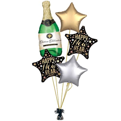New Year Champagne Bottle Balloon Bouquet