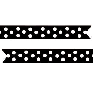 Polka Dot Pre-Printed Ribbon Black - 25mm - Per Metre