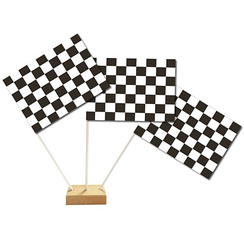 "Black & White Checkered Table Flag 6"" On 10"" Pole"