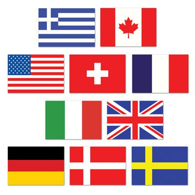 Mini International Flag Cutouts - 11.4cm - Pack of 10