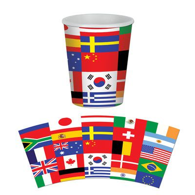 International Flag Beverage Cups - 9ozs - Pack of 8