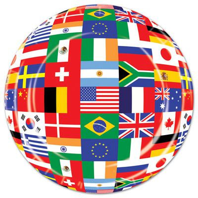 International Flag Plates - 22.9cm - Pack of 8