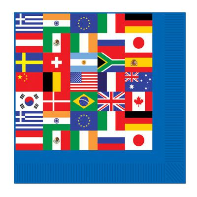 International Flag Luncheon Napkins - 2-Ply - Pack of 16