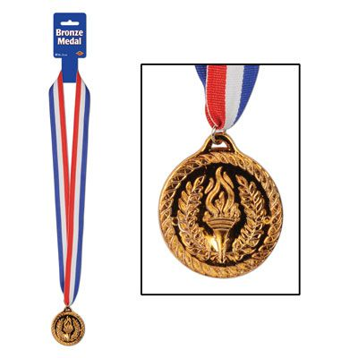 Plastic Bronze Medal with Ribbon - 76cm