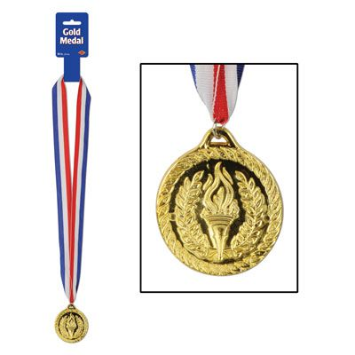 Plastic Gold Medal with Ribbon - 76.2cm