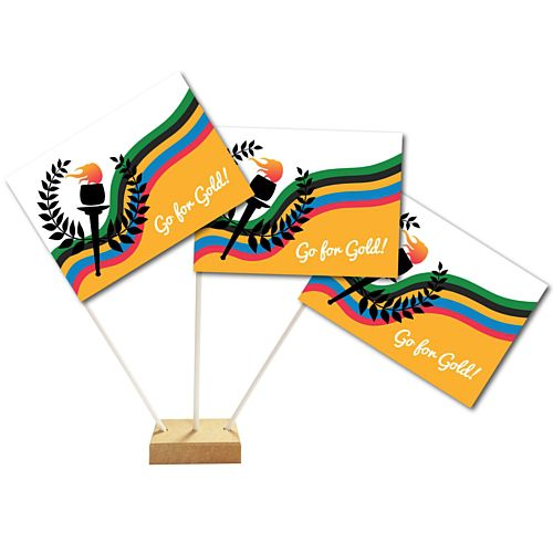 Go for Gold Summer Olympics Table Flags 15cm on 30cm Pole