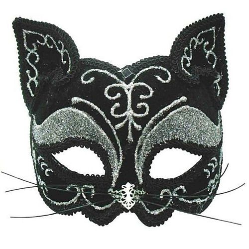 Black and Silver Decorative Cat Mask