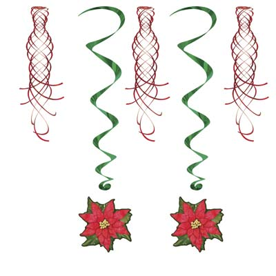 Poinsettia Shimmers & Whirls - 1.02m - Pack of 5
