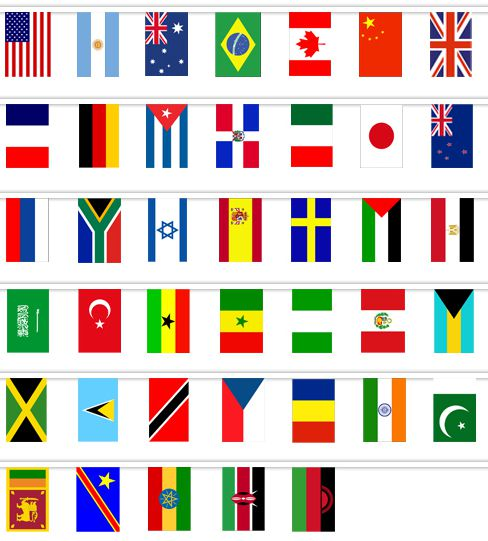 World Country Cloth Flag Bunting - 40 Flags - 12m