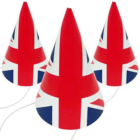 British Union Jack Style Cone Hat - Each