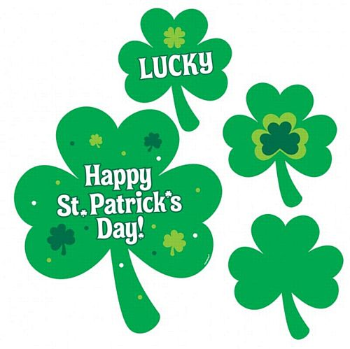 Shamrock Cutout Wall Decorations - Pack of 30 - 12cm to 30cm