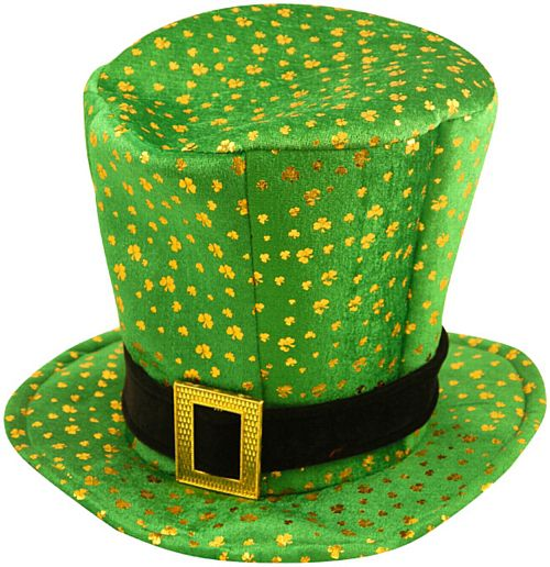 St. Patrick's Green & Gold Hat with Shamrocks - 34.9cm