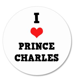 I Love Prince Charles Badge 58mm Pinned Back Each