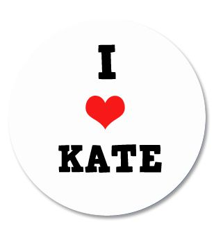 I Love Kate Badge 58mm Pinned Back Each