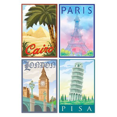 International Travel Cutouts - 40.6cm - Pack of 4 Assorted Designs