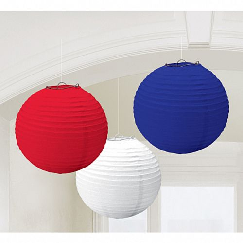 Red, White and Blue Paper Lanterns - 24cm - Pack of 3