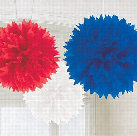 Red, White and Blue Fluffy Tissue Pom Poms - 40cm - Pack of 3