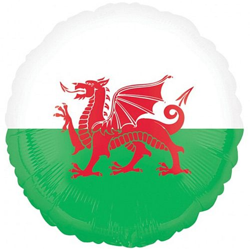 "Welsh Flag Foil Balloon - 18"" - Each"