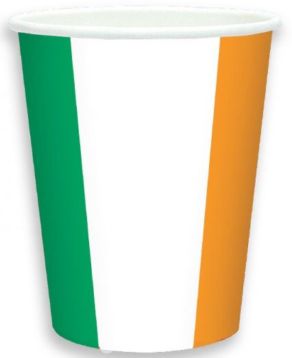 Irish Flag Paper Cups - 266ml - Pack of 8
