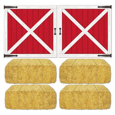 Barn Loft Door and Hay Bale Wall Decorations - 82.6cm - Pack of 6