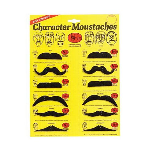 Assorted Black Moustaches - Pack of 12