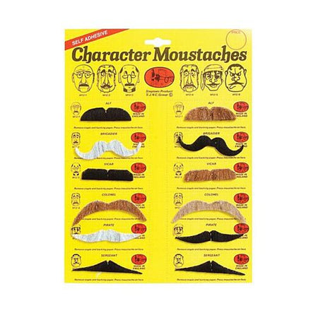 Assorted Colour Moustaches - Pack 12