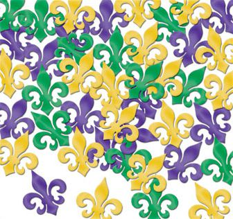 Gold, Green & Purple Fleur De Lis Table Confetti - 1oz