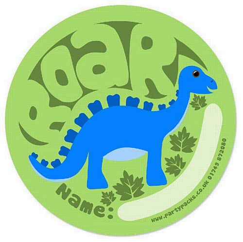 "Dino Party Bag Name Sticker - 2"" Diameter - Each"