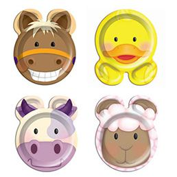 "Farmyard Shaped Plates 9"" - Pack of 8"