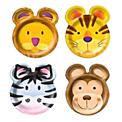 "Jungle Safari Party Shaped Plates - 9"" - Pack of 8"