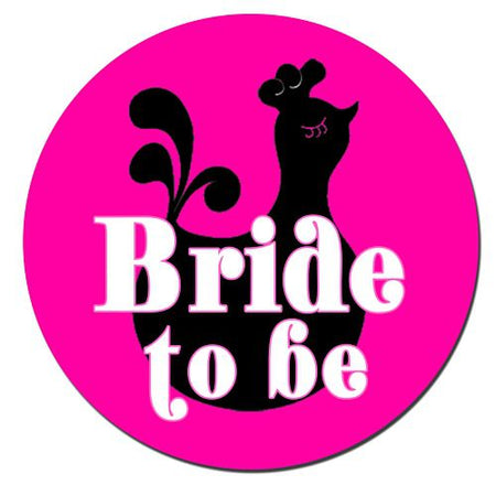 Bride To Be Badge 58mm Pinned Back - Each