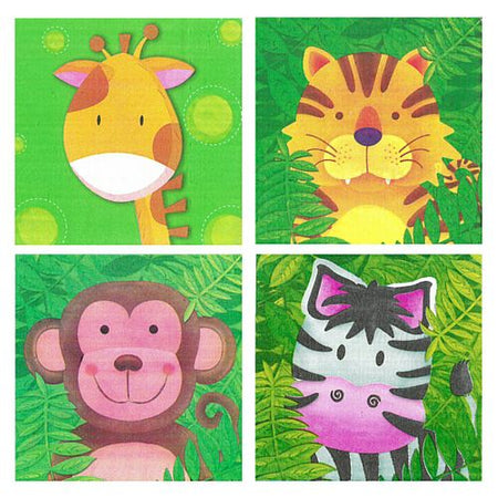 Jungle Safari Party Lunch Napkins - Assorted Designs - Pack of 20