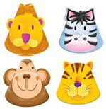 Jungle Safari Party Shaped Hats - Pack of 8