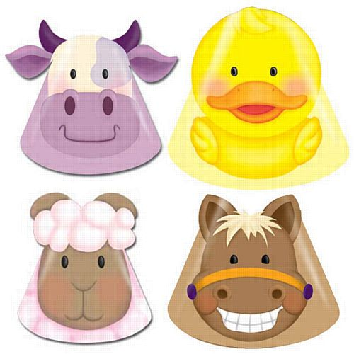Farmyard Party Hats - Assorted - Pack of 8