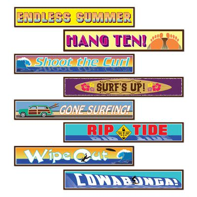 Surfer Street Sign Cutouts - 61cm - Pack of 4