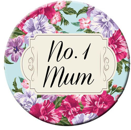 No. 1 Mum Badge 58mm (Pinned Back) - Each