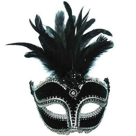 Black Velvet Eye Mask with Tall Feathers